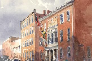 Watercolor of the front of the Peale Museum building on Holliday Street in Baltimore.